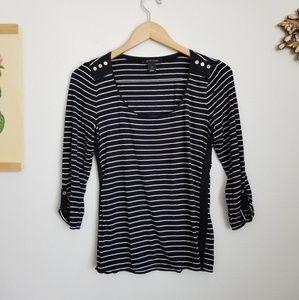 WHBM Black/White Striped Scoop Neck Top Sz Small